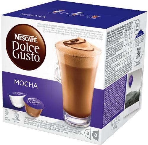 Fonde i due sapori più amati al mondo in una bevanda esclusiva da gustare durante le tue pause. Mocha unisce la golosità della cioccolata al gusto intenso del caffè  In ogni confezione da 16 capsule troverai  8 di Mocha e 8 di latte intero in polvere, per preparare 8 tazze.