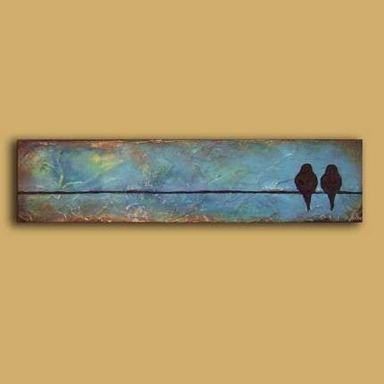 @Heather Strom  Original Sculpted EarthArt Painting Birds on a Wire by EarthArt - Photo