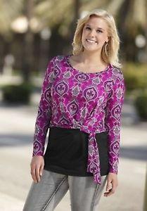 Damen langarm Shirt Paisley-Print Fuchsia / Schwarz Größe 44 (808270) | eBay