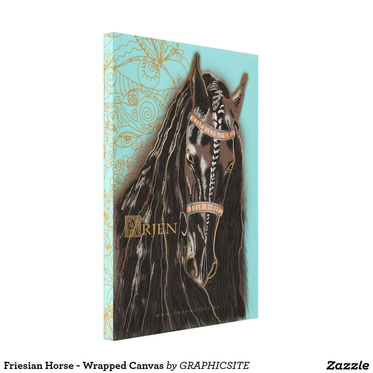 Friesian Horse - Wrapped Canvas painting deco poster black indian horseland stable