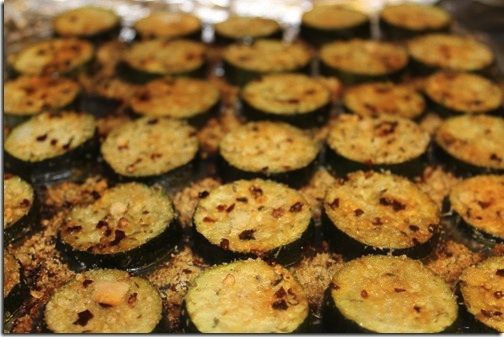 Roasted Zucchini Parmesan-this is great as side dish, or snack. Just put desired seasoning  (garlic powder, salt, black pepper, paprika, parmesan, curry..) in the oil, then toss the zucchini slices in it. Then bake-voila!