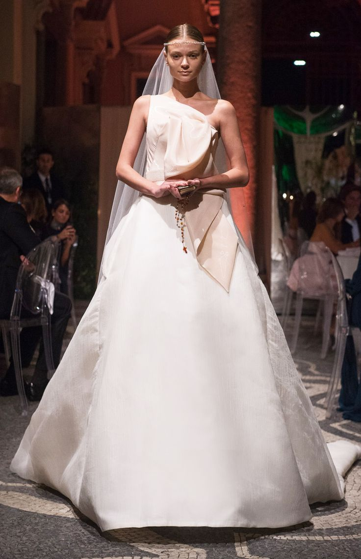 YVES - Ball gown with origami folds on bodice and beaded belt at waist