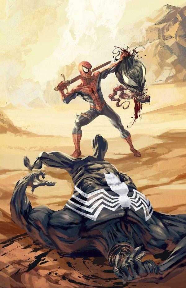 Homem-Aranha e Venom como David e Golias