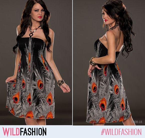 Inspirată din eleganța naturii exotice, o rochie de seară neagră cu accente colorate va face furori oriunde te-ai duce. La ce fel de evenimente ai purta o astfel de rochie și cu ce încălțări ai asorta-o? #wildfashion #wldsexy  Cum ți se pare propunerea #wildfashion? http://www.wildfashion.ro/haine/femei/rochii/rochii-vara/k308-18-rochie-de-vara-fara-maneci-cu-model-paun?utm_content=buffer64fc3&utm_medium=social&utm_source=pinterest.com&utm_campaign=buffer  Like dacă e pe gustul tău sau tag…