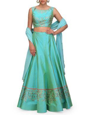 Chhaya Mehrotra Turquoise Blue Lehenga Set | Chhaya Mehrotra | BYELORA.COM