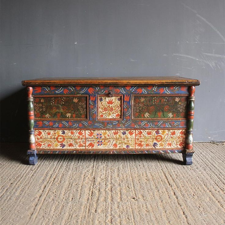 Folk Art Painted Blanket Box