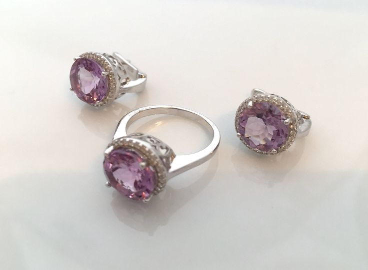 SET:  14k White GOLD and 925 Natural Rich Purple Brazilian AMETHYST Gemstones and Cubic Zirconia, Royal Design Ring Sz 7.5 Jewellery!! by AmeogemPreciousJewel on Etsy