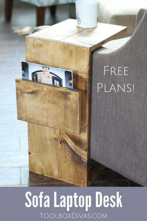 Free woodworking plans for this Mobile Sofa Laptop desk with magazine storage - ToolBox Divas. Perfect for small spaces, working from home, dorm rooms and apartment living. via @Toolboxdivas #DIY #sofa #table #woodworking