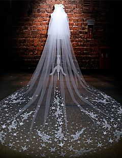Wedding Veil Two-tier Cathedral Veils Cut Edge Tulle Lace Ivory – USD $ 225.00