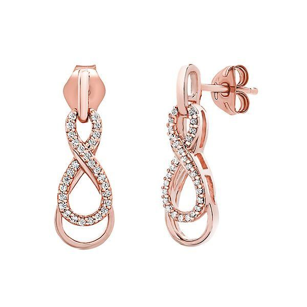 1 10 Ct Tw Diamond Infinity Earrings In 10k Rose Gold 2302153 Helzberg Diamonds Gold Jewelry Fashion Infinity Earrings Online Gold Jewellery