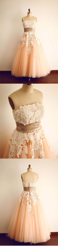 Cute tulle lace tea length prom dress, lace bridesmaid dress