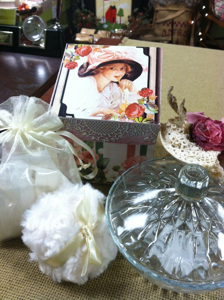 Beautiful powder gift sets. Sold at Rosi's Cottage Treasures.