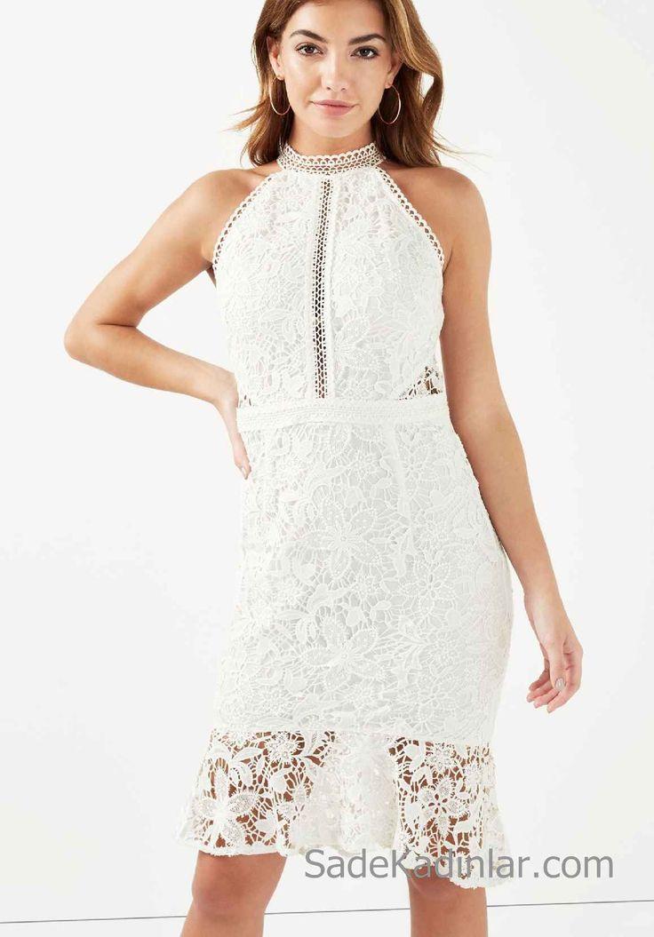 Beyaz Elbise Modelleri Çiçek Dantelli Vücudu Saran Kısa Elbise