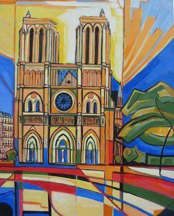 """La Cathédrale Notre-Dame de Paris Artiste: Laurent Veyretout """"Mes tableaux parisiens"""" http://www.veyretout.com/Mes-tableaux-Parisiens.html"""