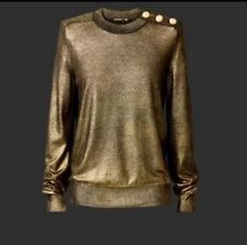 BALMAIN H&M Gold Shimmer Shimmering Metallic Jumper Top Sweater EU 34 UK 8
