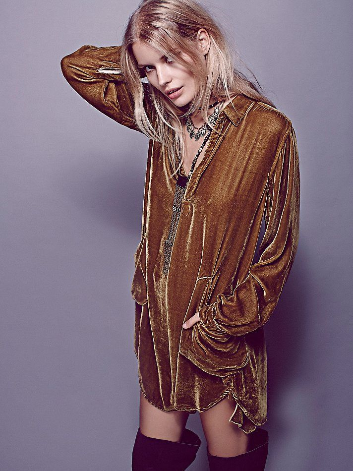 CP Shades x Free People Cozy Velvet Shirt Dress