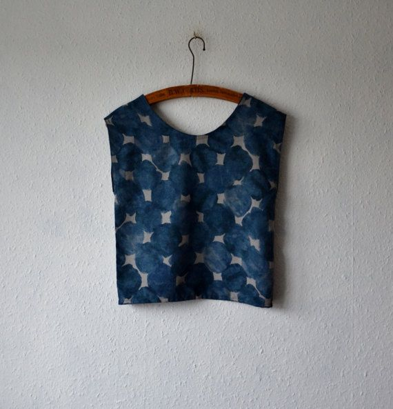 Boho blouse top womens eco fashion big dot pattern abstract tank vest shirt blue grey earthy rustic minimalist hippie sustainable tunic tops