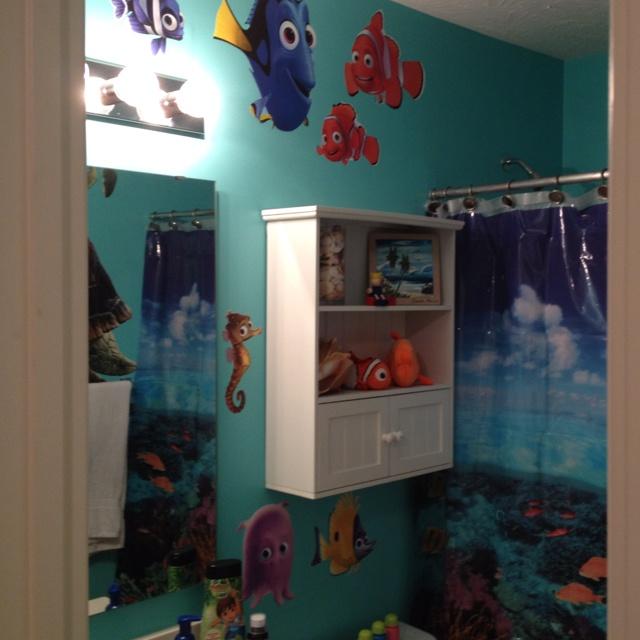 Kids Bathroom: Under The Sea Shower Curtain, Aqua Paint, Finding Nemo Fathead Decals.