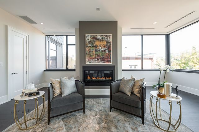 Family Room With Fireplace 36 Hazelton Ave Toronto Suite 4A Luxury Condo For Sale Victoria Boscariol Chestnut Park Real Estate