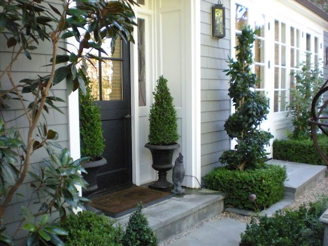 Boxwood topiary in urns at front door outdoors for Front window landscaping ideas