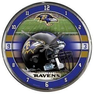 Baltimore Ravens Wall Clock $26.95 http://www.mysportsdecor.com/baltimore-ravens-wall-clock.html #baltimoreravens #baltimoreravenswallclock #baltimoreravensmerchandise