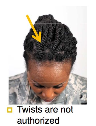 Sgt. Jasmine Jacobs of the National Guard in Georgia has always plaited her hair into two twists around her head. She has been in the military for six years and has worn her hair natural (meaning no chemical treatments [perms] or hair extensions [weaves]) for four of those years. But according to the new hair-grooming …