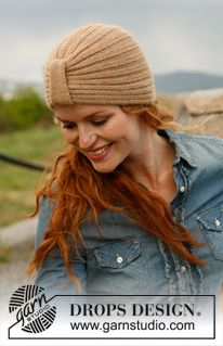 """Edith Piaf - Knitted DROPS hat with band in """"Alpaca"""". - Free pattern by DROPS Design"""