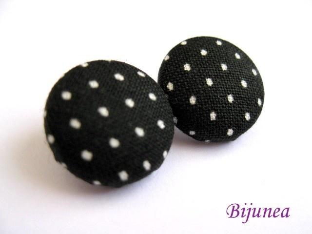 Black polka dot stud earrings by Bijunea on Etsy, $7.90