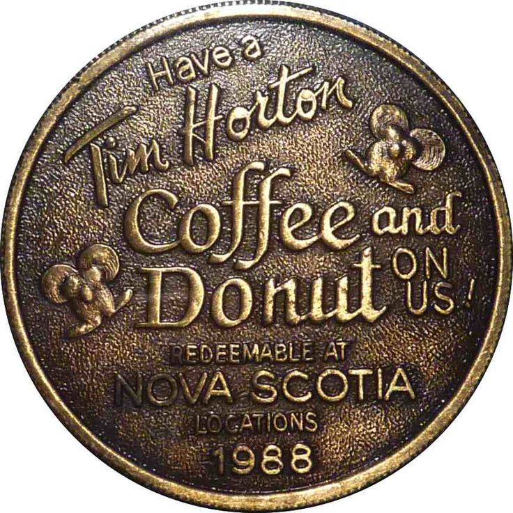 "Tim Horton's 1988 ""Have a coffee on Us"" Nova Scotia ""Bronze Coin. Only 250 of these were made and they are extremely rare and hard to come by.  Last known auction on e-bay 2007!"