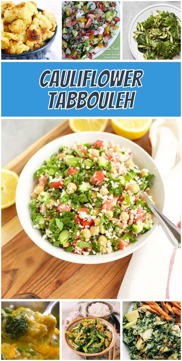 Cauliflower Tabbouleh Vegetarian Meals Healthy Vegetarian
