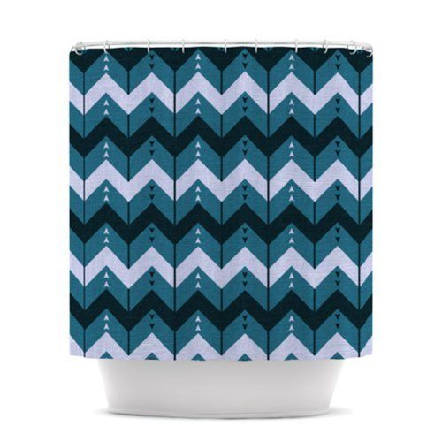 Kess InHouse Nick Atkinson Chevron Dance Blue Shower Curtain, 69 By 70 Inch  By