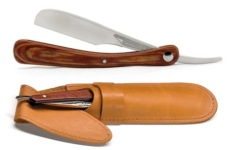 The Feather straight razor and Thiers Issard leather case: simplifying a straight razor shave away from home.