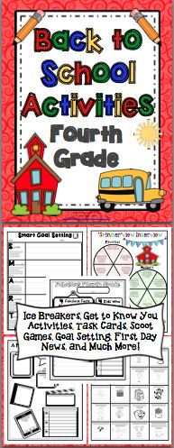 Back to School Activities (4th Grade) Start the beginning of the year off with a bang! This 50+ page pack has ice breaker activities, get to know you activities, task cards, Scoot games, first day activities, and much more! Also available for 3rd and 5th grades. $