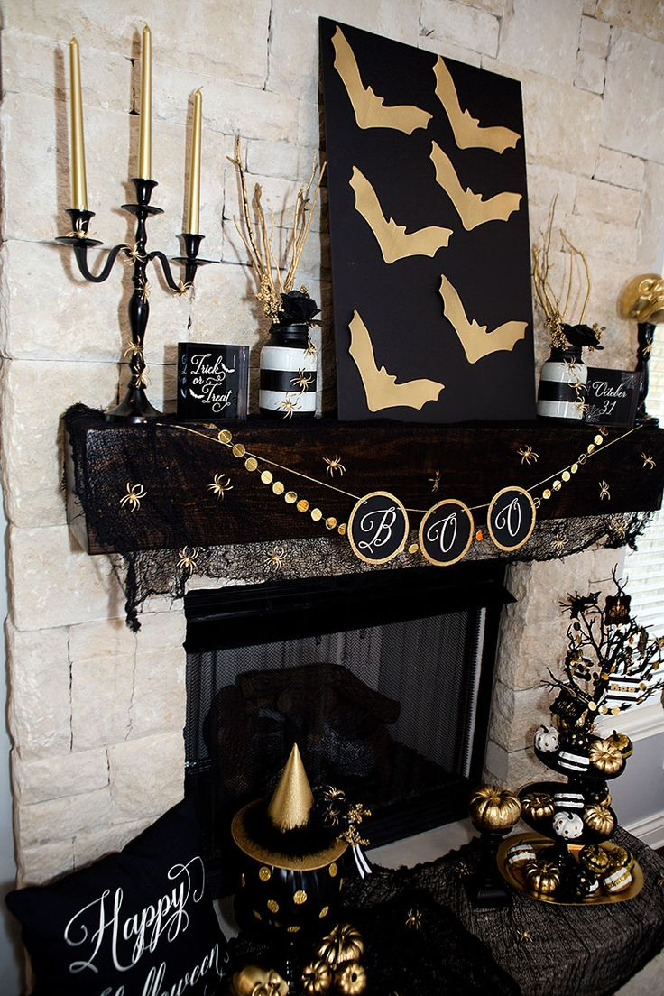 Black and Gold Halloween Decorations - DIY How To - FREE Printables