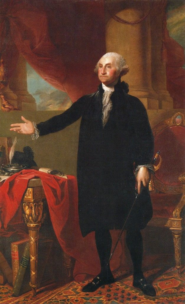 "George Washington - ""It is impossible to rightly govern a nation without God and the Bible."" -  (American commander in chief of the colonial armies in the American Revolution (1775-83) and subsequently 1st US President (1789-97), 1732-1799) - Painting by Gilbert Stuart hangs in East Room of White House."