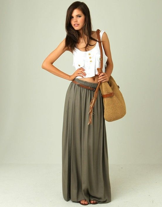 Fashion Worship: Boho Chic, Fashion, Crop Tops, Style, Clothing, Maxi Skirts Outfits, Long Skirts, Summer Outfits, Olives