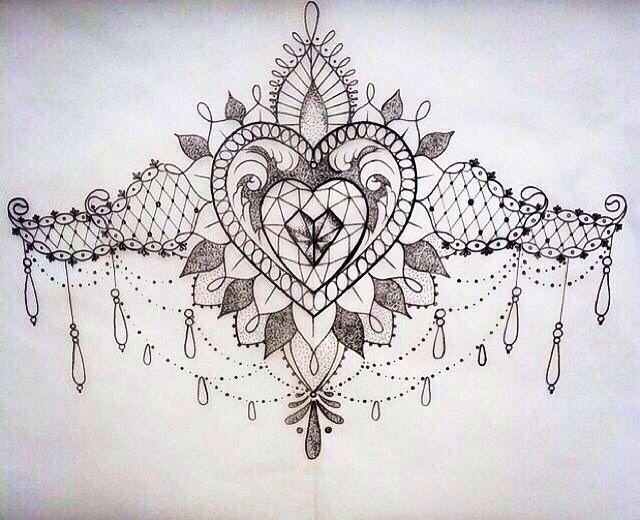 Pretty Sternum Tattoo Sketch