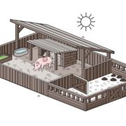 How to Set up a Pig Pen. Pigs are surprisingly clean animals, and you may make a pig miserable by simply building a cage around a mud puddle. Pigs need protection from the elements in the same way that humans do, and they need separate areas to eat, play, relieve themselves and even roll around in the mud.