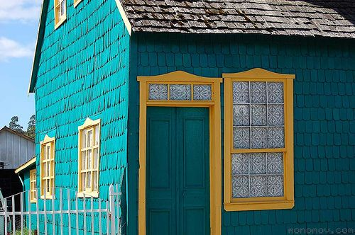 Tiled House, Chiloe, Chile, South America