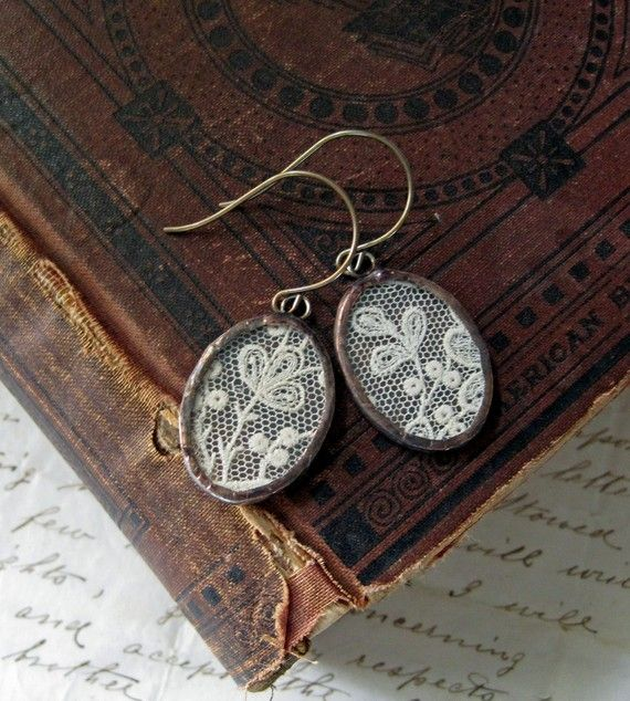 The girl who made these, used the lace from her wedding dress. Love the idea, so special. Have to do this myself.
