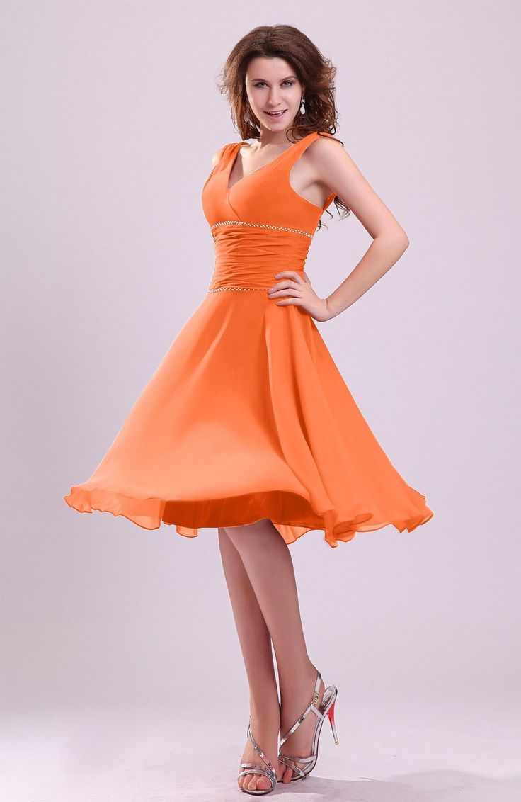 Best 25 tangerine bridesmaid dresses ideas on pinterest orange tangerine bridesmaid dress cute a line sleeveless chiffon knee length ruching ombrellifo Gallery