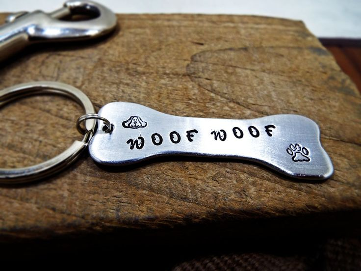 Woof Woof bone shape Statement Keychain - Dog Paw and dog face Personalized dog name Aluminum keychain - Perfect gift for Dog lovers by Aluminiopassions on Etsy