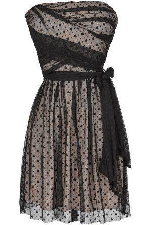 Ink Blot Black and Beige Mesh Lace Dress  www.lilyboutique.com