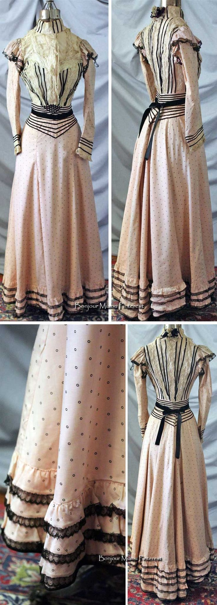 Afternoon dress ca. 1890s. Two pieces. Pale pink wool-cotton blend (?) with small black polka dots. Trimmed with Valenciennes and Chantilly lace and black silk velvet ribbon. rosietoesmac/eBay