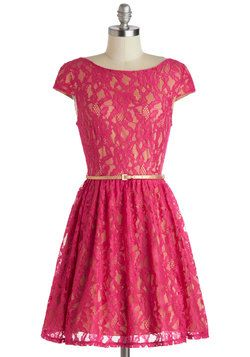 Surprise to the Occasion Dress, #ModCloth Love the bright pink color and the metallic belt. Great combo.