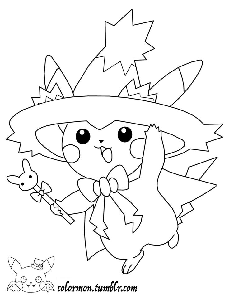 Pikachu Halloween Coloring Pages | Pokemon coloring pages