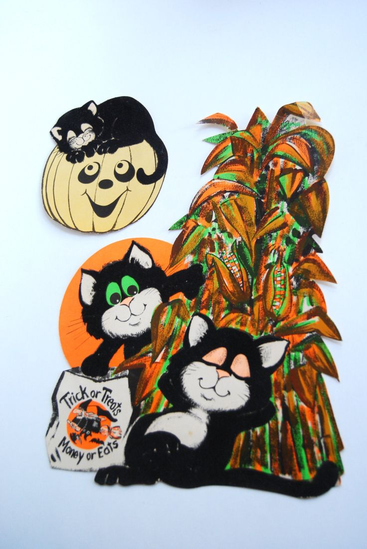 Vintage halloween paper decorations - Vintage Halloween Paper Decorations Fuzzy Cats By Papermonkies
