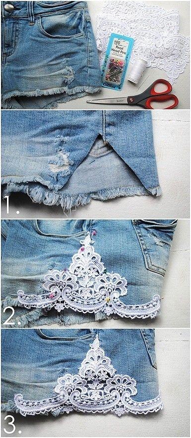 lace denim shorts                                                                                                                                                                                 Mais