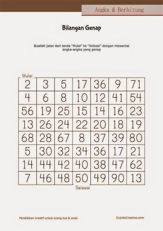 belajar anak SD, labirin bilangan genap-ganjil, mencari jalan keluar dengan mengikuti angka genap