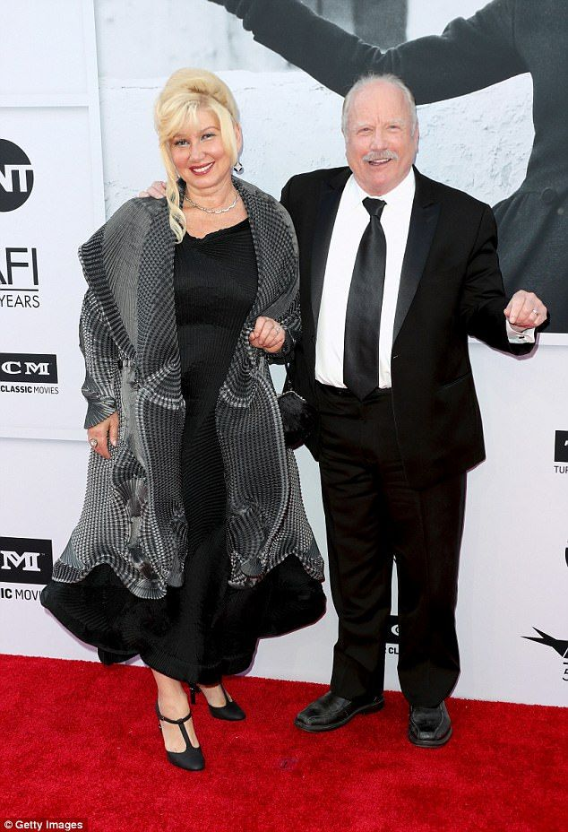 Gold standard: Actor Richard Dreyfuss and his wife Svetlana Erokhin matched nicely in blac...
